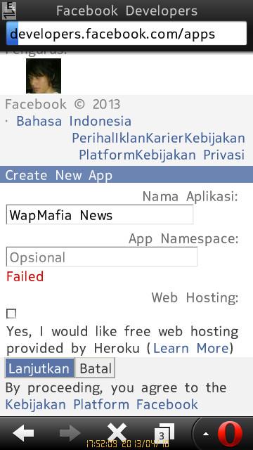 Membuat aplikasi facebook untuk status via